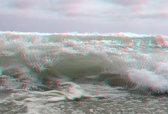 Zuma Beach, Malibu (Anaglyph 3D) (patrick.swinnea) Tags: ocean california beach water stereoscopic stereophoto 3d sand waves anaglyph malibu zuma splash