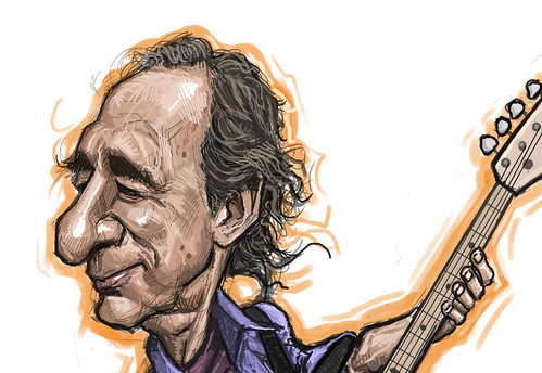 digital caricature of Harry Shearer - head close-up