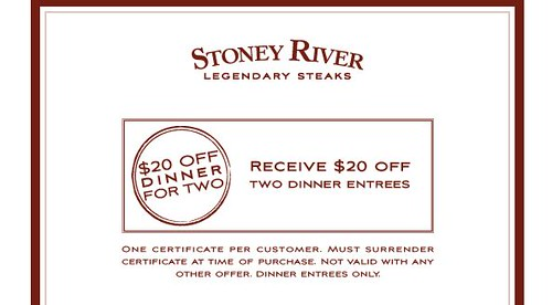 Stoney river printable coupon 2018