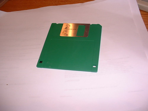 A green floppy disk