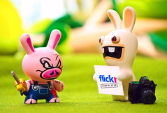 No flickr for you (m4calliope) Tags: toys pig nikon flickr kidrobot drama f5 ubisoft dunny triclops rayman rabbid d700 m4calliope
