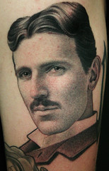 nikola tesla portrait (James Spencer Briggs) Tags: blackandgreytattoo portraittattoo sciencetattoos nikolateslatattoo
