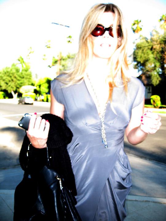 gray silk dress+sunglasses+calvin klein heels