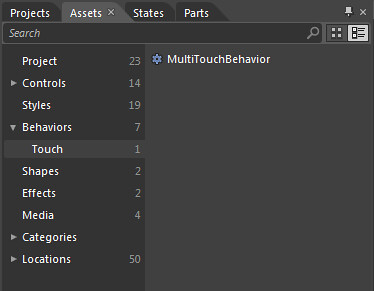 Figure 1: MultiTouchBehavior in Blends assets library
