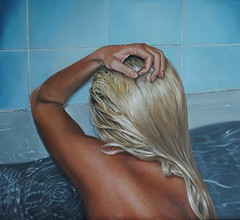 Zero (when I'm alone I cease to exist) (Linnea Strid) Tags: art water hair bathroom artist hand arm bathtub oilpainting photorealism linneastrid