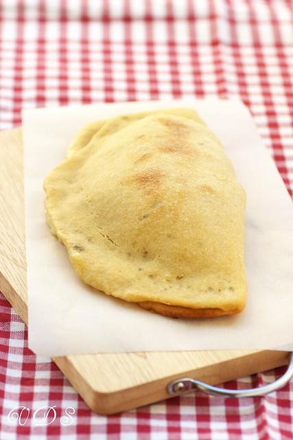 Mozzarella and porcini calzone