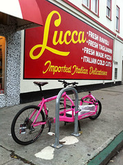 Awesome pink delivery bike (andy.brooks) Tags: street pink valencia bike bicycle italian san francisco district lucca sidewalk mission delivery parked locked delicatessen 22nd bulitt