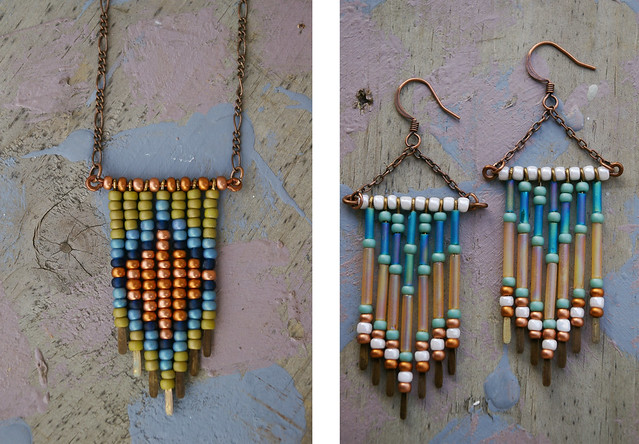 Leotie necklace and earrings