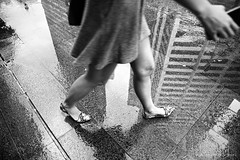 Singapore (ale neri) Tags: street bw woman reflection wet legs urban singapore asian people aleneri streetphotography blackandwhite alessandroneri