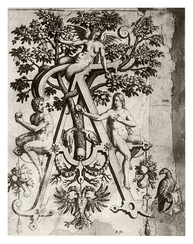 002-Letra A-Adan y Eva-Neiw Kunstliches Alphabet 1595- Johann Theodor de Bry