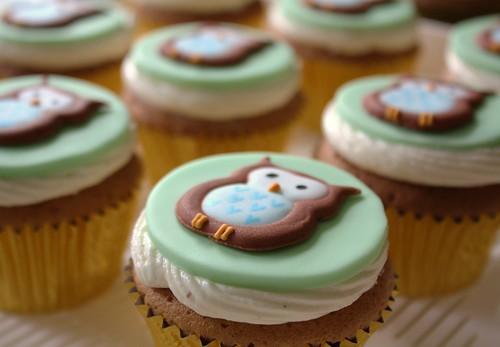 Close up of Owl cupcakes