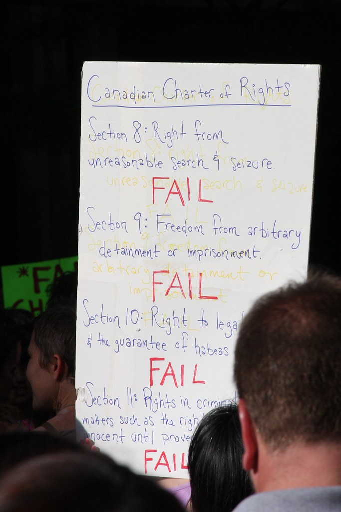 "Canadian Charter of rights FAIL sign at ""Jail Solidarity Rally"""