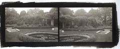 Gardens at George Eastman House (efo) Tags: bw newyork gardens diptych formal rochester multiframe georgeeastmanhouse palladiotype