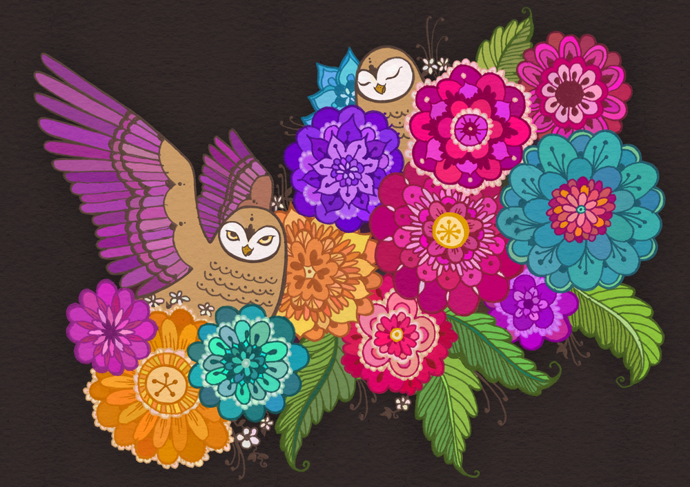 Owls Among Flowers