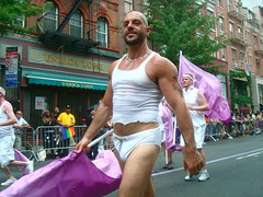 flag?  what flag? (redjoe) Tags: street nyc newyorkcity gay light sun man hot color sexy love muscles proud fun freedom rainbow raw afternoon arms legs manhattan candid flag chest crowd pride stranger parade tanktop laughter spectators anonymous package bathingsuit stud bulge redjoe joehorvath gaypride2010