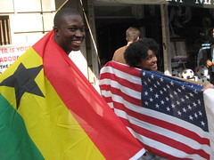 Ghana vs USA flag display
