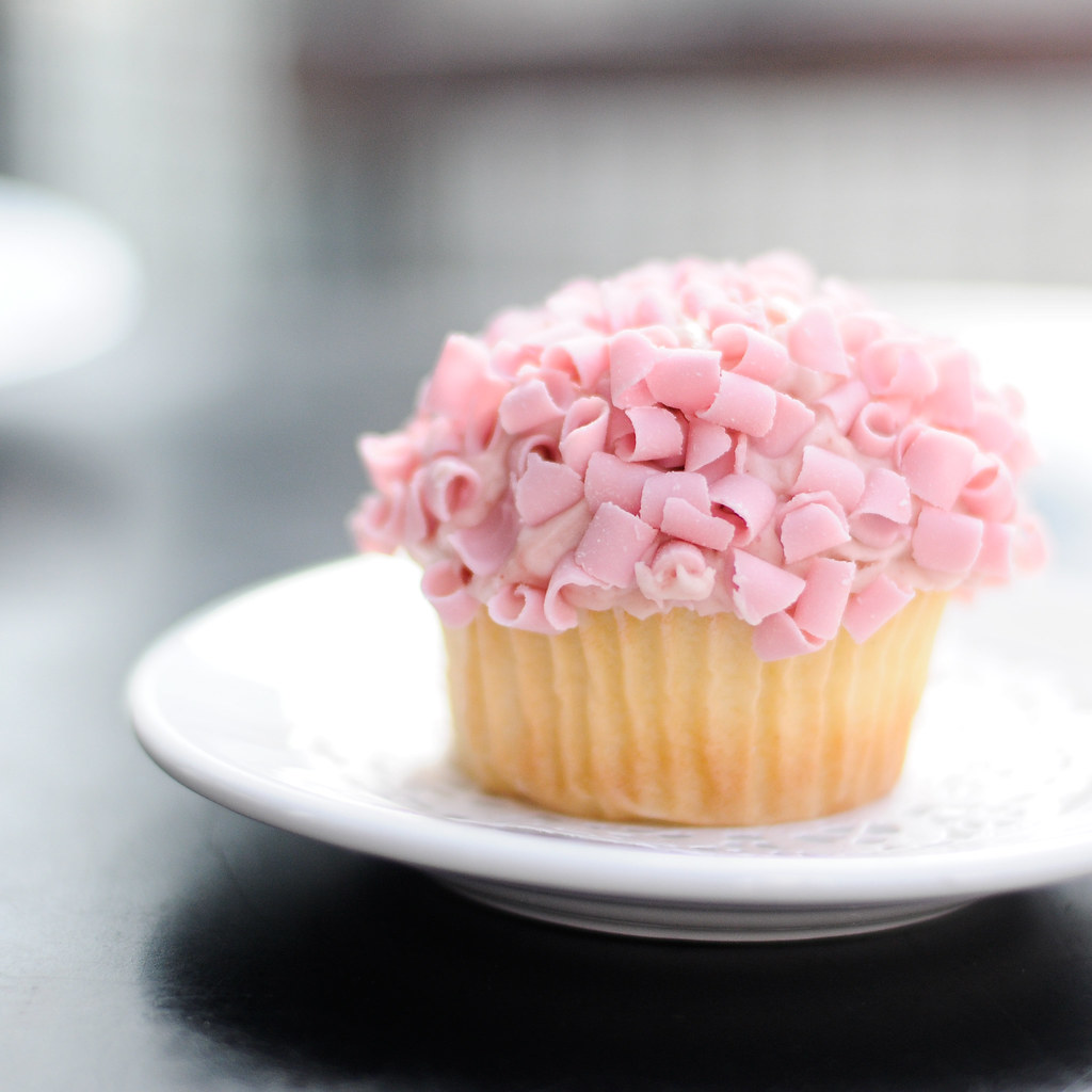 Raspberry cupcake with shaved icing