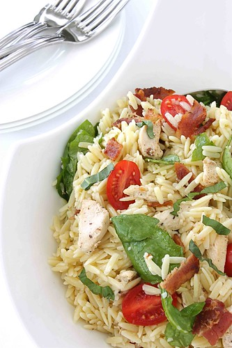 Chicken BLT (or Bacon, Spinach & Tomato) Pasta Salad Recipe
