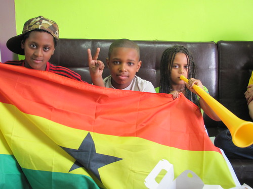 Watching World Cup in Vancouver: Young Ghana Fans at the Afro Hair Studio on Commercial Drive