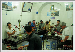 At the Teahouse - Tehran, Iran (friend_faraway *) Tags: men water iran tea pipe streetphotography iranian tehran sheesha shesha chay qalyan