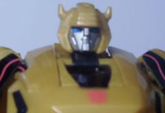 A headshot of Cybertonian Bumblebee.