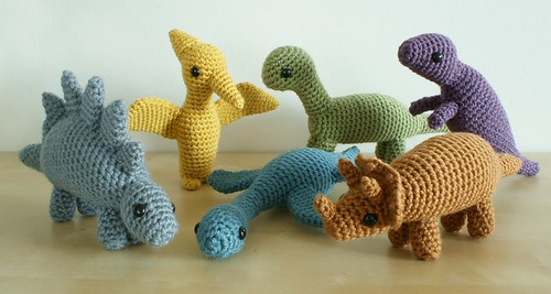 crocheted dinosaurs sets 1 and 2