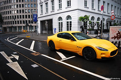 Maserati GranTurismo S Mc Sport Line (Willem Rodenburg) Tags: 3 black sport yellow architecture night photoshop germany dark mercedes benz hotel nikon picasa s line mc mclaren mercedesbenz dusseldorf rims limited edition maserati intercontinental laren willem roadster lightroom granturismo 722 1685 sportline sportsline d80 rodenburg 722s