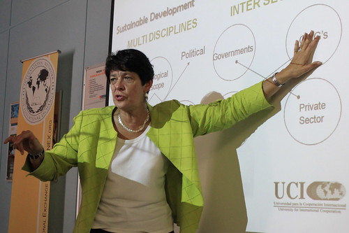 Lorena San Roman, UCI Vicerector of Extension and Cooperation during her Key Note on Sustainable Development (2)