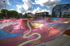 skate park HDR (Thijs Holzapfel) Tags: colors clouds graffiti nikon wolken skatepark skate nubes nuages tamron kleuren 10mm d90