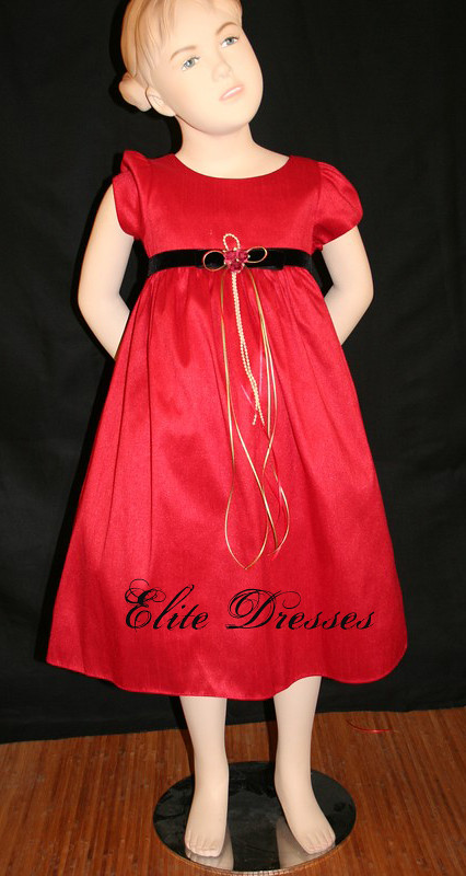 Girl's Red Cap sleeved Taffeta Formal Dress