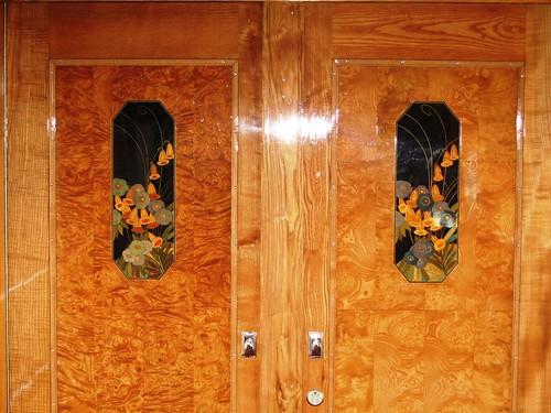 Marquetry detail on Wagons Lits carriage