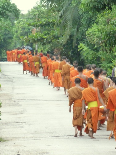 Monks return to their temples.