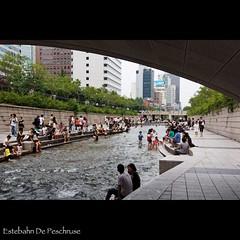 Cheonggyecheon stream (Estebahn De Peschruse) Tags: voyage trip water canon eos asia eau korea seoul a