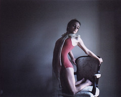 - (alexis mire) Tags: alexis pink ballet mamiya girl mediumformat chair shadows stretch ribbon mire rb67 400speed