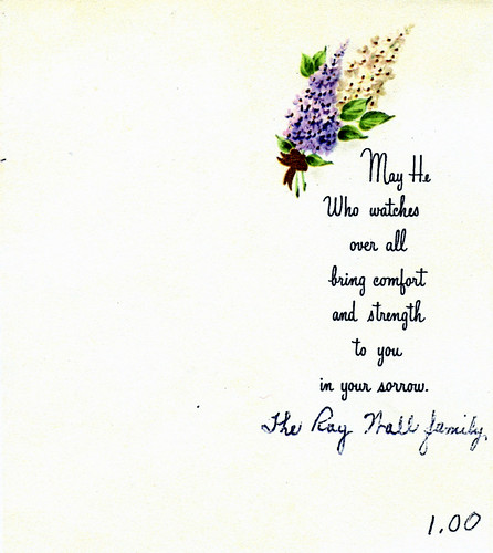 SYMPATHY CARD etiquette - April 1957 - Mary Bernadette Clemas-Wall to Doris Adelaide Secker-Walls 1