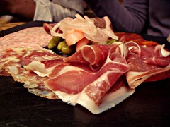 28-50 Wine Workshop and Kitchen - Selection of Charcuterie (Chorizo, Serrano ham, coppa, rosette, garlic sausage served with pickled vegetables and bread)