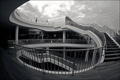 Slide (night86mare) Tags: lines architecture singapore pentax monotone fisheye duotone curve bnw 10mm 1017mm vivocity k20d