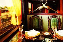 Maharajas' Express - Mayur Mahal, dining (Train Chartering & Private Rail Cars) Tags: indiantrain privatetrain privaterailcar chartertrain traincharter trainchartering privatecarriage luxurytravel luxurytrain luxurytrainclub indianluxurytrain maharajasexpress