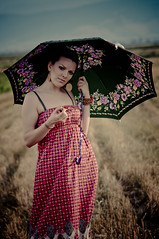 . (Bojan Naumoski) Tags: blue red portrait sun mountain green girl smile yellow umbrella glasses focus wheat macedonia manual 135mm prilep