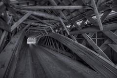 Livingston Manor Covered Bridge - Interior (Formerly Motts Flats Bridge and  Vantran Bridge) (mgarbowski) Tags: blackandwhite hdr d700 1424mm