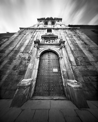 The Old Church (4x5 Pinhole Photograph) (integrity_of_light) Tags: bw church architecture spain stones religion pinhole 4x5 christianity catholicism largeformat zeroimage alcaladehenares fujiacros100