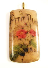 Petit Duc Rose Duo On Parchment Pendant