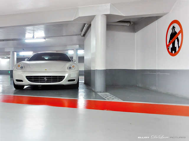 white car deluxe parking alien ferrari elliot exotics 612 v12 scaglietti
