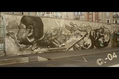 Zoo Project (C.-04) Tags: two paris france building men canon bench eos graffiti tag binoculars deux graff 450 jumelles banc hommes immeuble