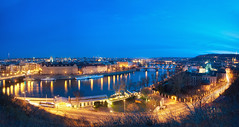 Prague Panorama (Philipp Klinger Photography) Tags: road street bridge blue trees light sunset shadow sky cloud reflection tree tower church water night clouds reflections river lights boat nikon europa europe ship republic nocturnal czech prague hill prag charles praha tschechien most hour czechrepublic bluehour charlesbridge philipp mala vltava ceskarepublika karluvmost karluv republika strana blaue blauestunde moldau malastrana klinger ceska blueblueblue karlsbrcke stunde kleinseite d700 nikon2035mmf28 dcdead