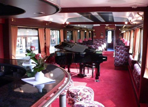 Swiss luxury train's bar car