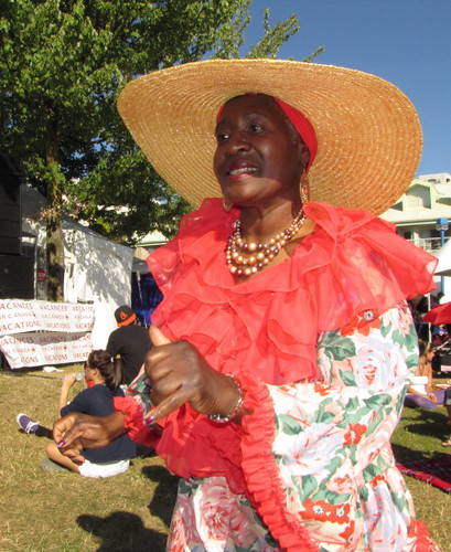 Lady with large straw hat, Caribbean Days Festival 2010 African, Trinidad & Tobago, Jamaica and West Indies Celebration
