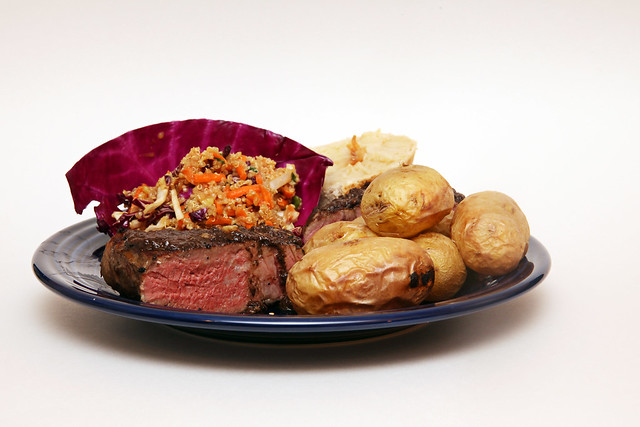 Sous Vide Chuck Steak w/ Roasted Potatoes, Quinoa Asian Slaw, and Sourdough Bread with Roasted Garlic