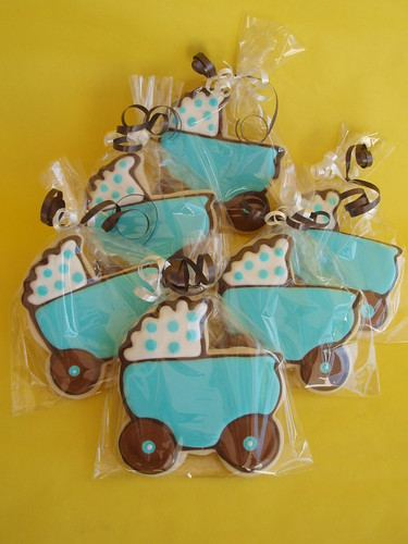 Blue and Brown Baby Stroller Cookie Favors