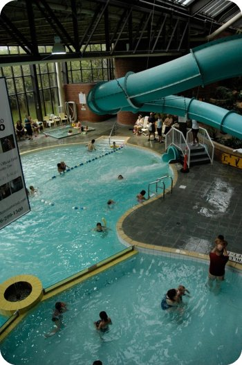 The pool and slide at the Delta East